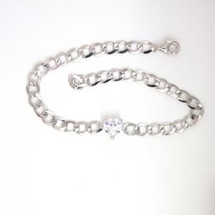 925 Silver Bracelet Chain/heart White cz 19mm/6.6x