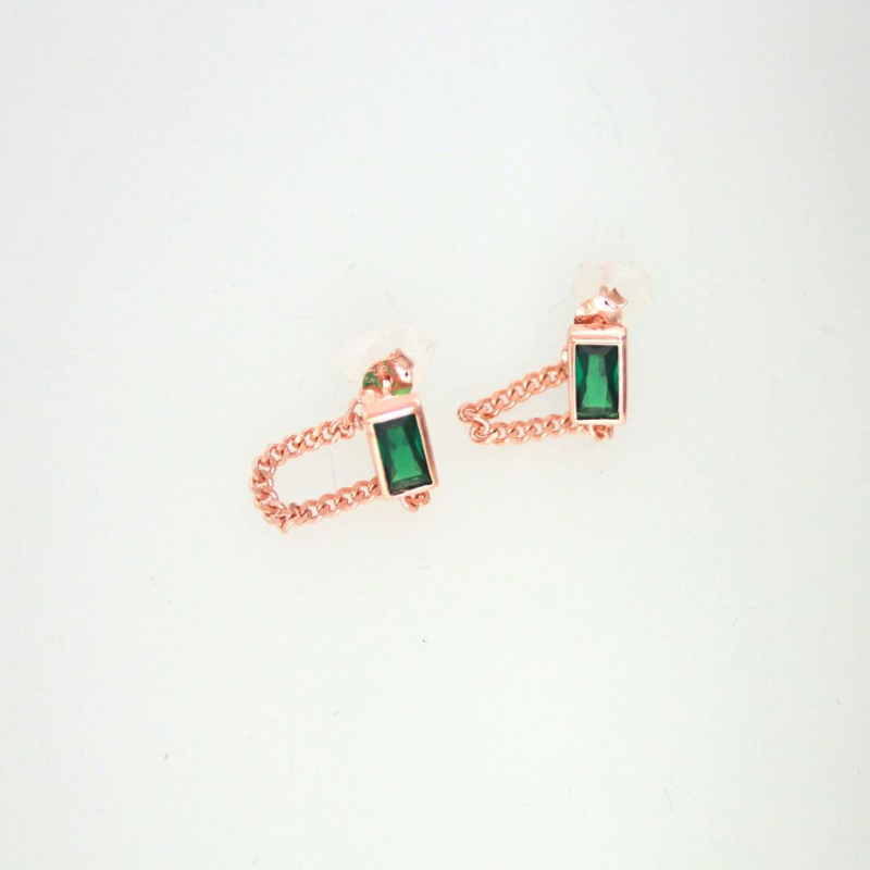 925 Silver Earring rectangle+chain emerald 8x4mm r