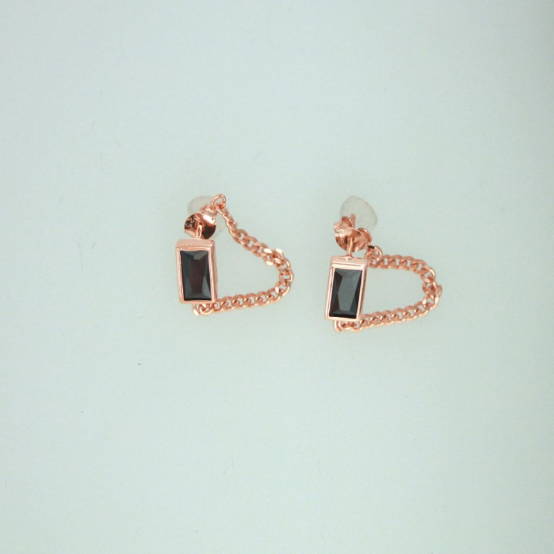 925 Silver Earring rectangle+chain black 8x4mm ros
