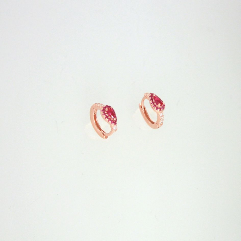 925 Silver Earring hoop White/ruby#5 12.8x11mm ros