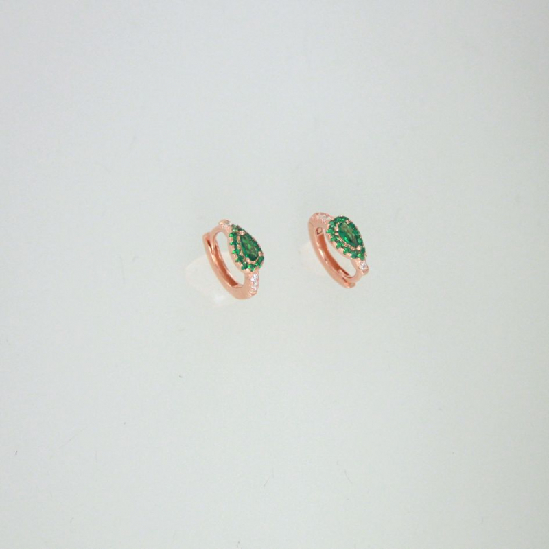 925 Silver Earring hoop white/emerald 12.8x11mm ro