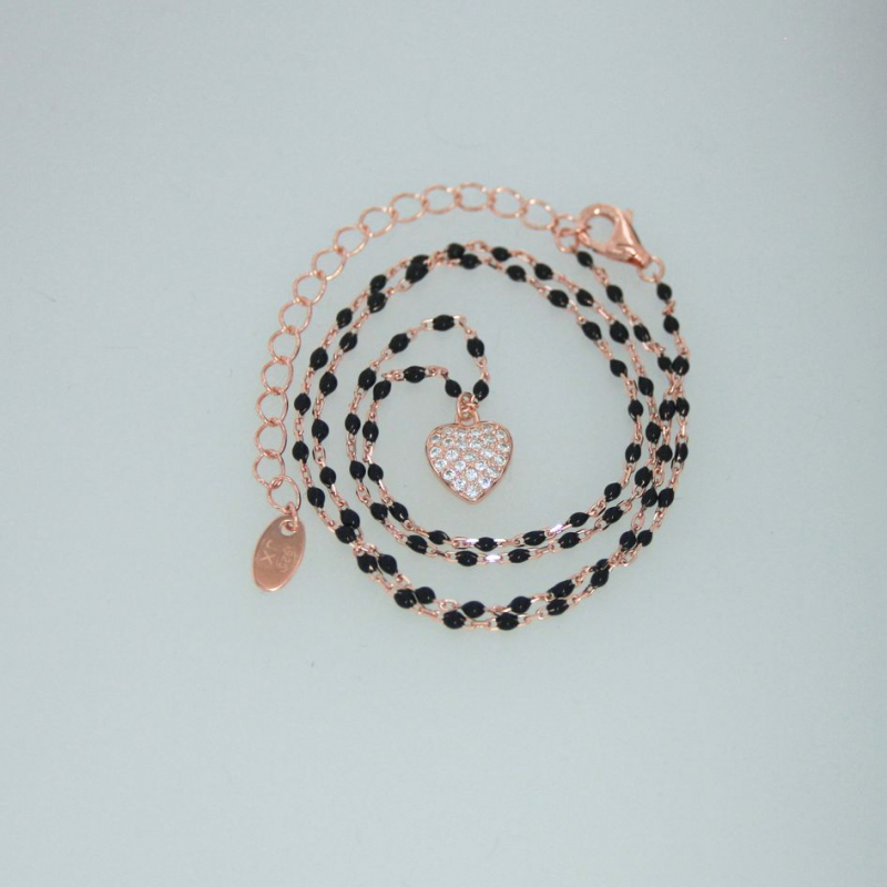 925 Silver necklace black enemal/heart White cz 38