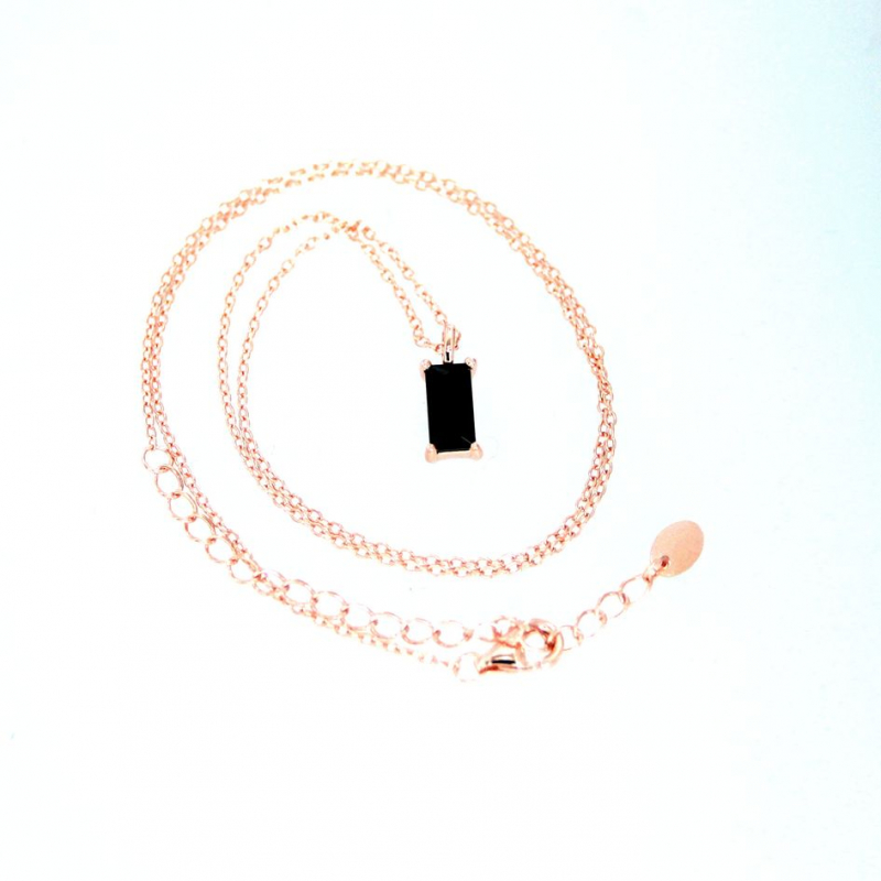 925 Silver necklace Baguette 8x4mm Black CZ 38+5cm