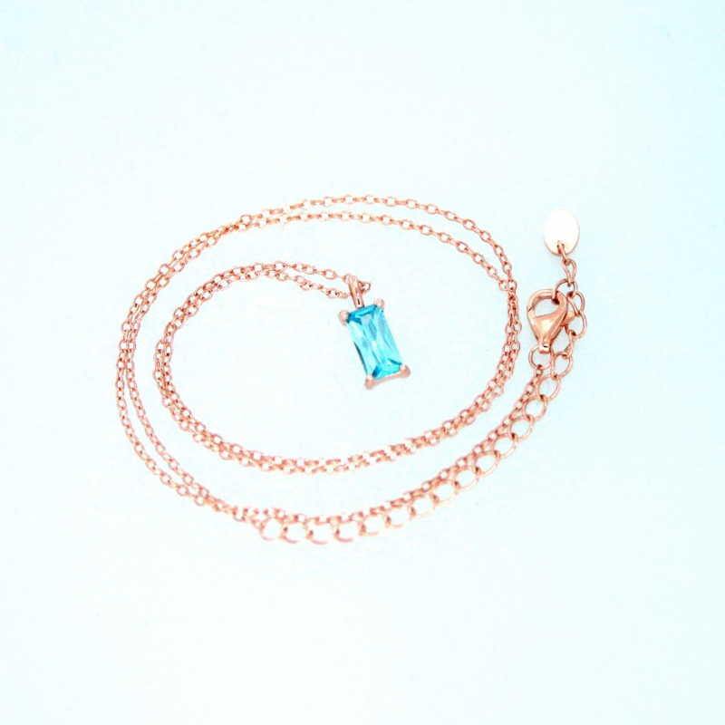 925 Silver necklace Baguette 8x4mm Aqua#37 38+5cm