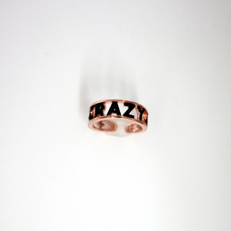 925 Silver Ring letter CRAZY black adjust Rose/blk