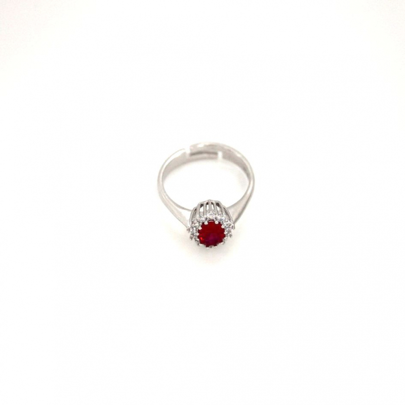 925 Silver Ring oval Ruby#5 5x7mm Rhodium