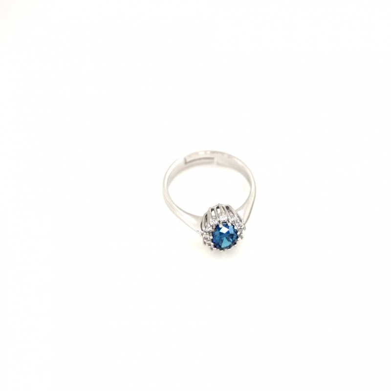 925 Silver Ring oval Sapphire #30 5x7mm Rhodium