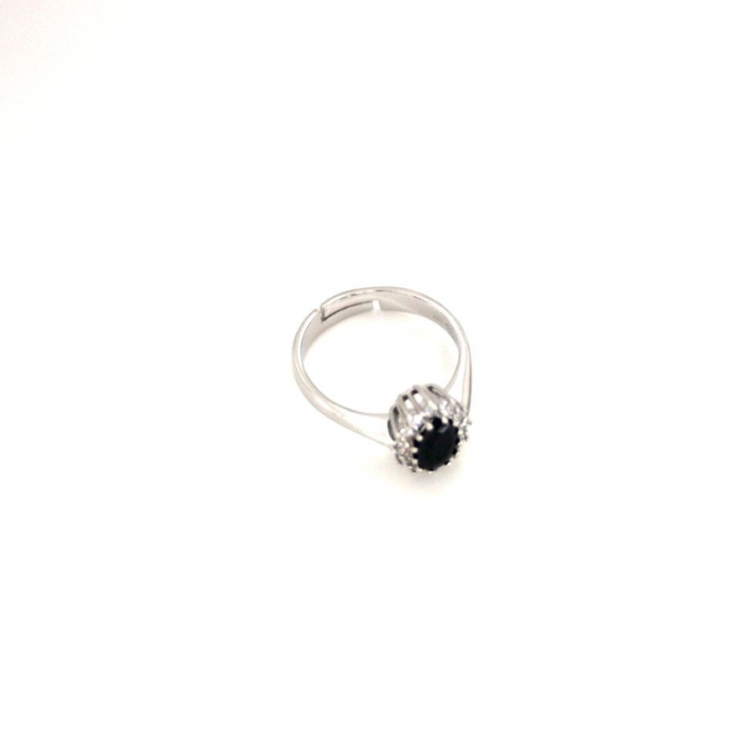 925 Silver Ring oval Black CZ 5x7mm Rhodium