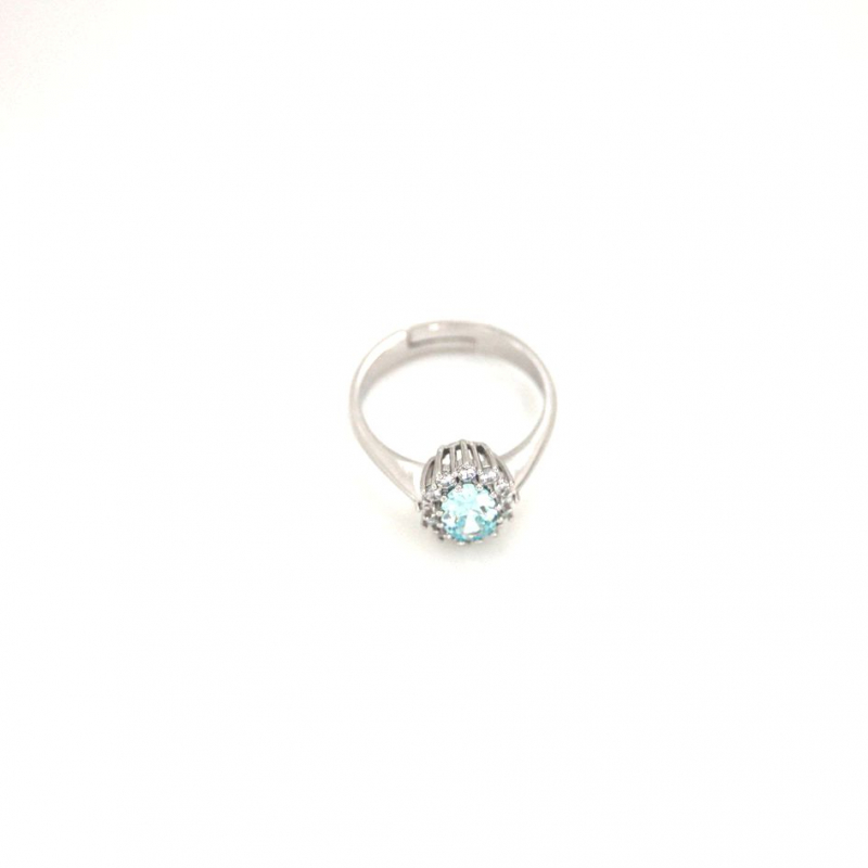925 Silver Ring oval Aqua#37 5x7mm Rhodium